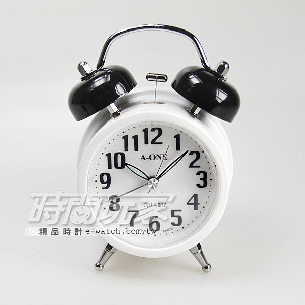A-ONE 簡約鈴聲鬧鐘 滑動式秒針 夜光 雙鈴鬧鐘 TG-0126黑