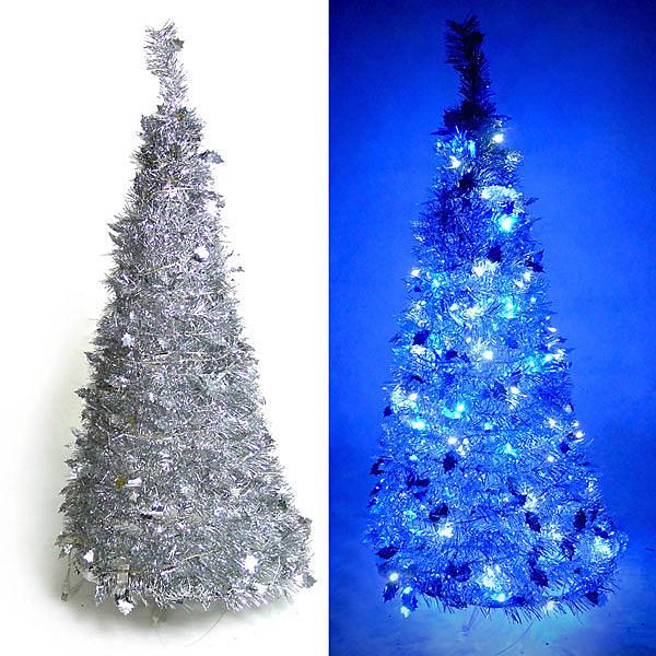 摩達客 4尺/4呎(120cm) 創意彈簧摺疊聖誕樹 (銀色系)+LED100燈串一條(9光色可選)