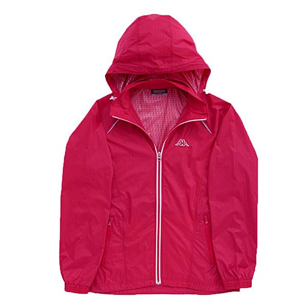 KAPPA義大利 女吸濕排汗速乾蓄熱保溫單層風衣(可拆帽) 海棠紅 白