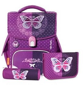 一年級二年級護脊書包 TigerFamily小學者超輕量護脊書包+文具袋+鉛筆盒--迷幻蝴蝶 兒童書包