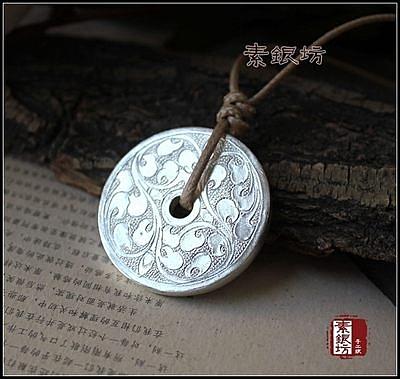 【34.8克】素銀坊浮雕雙面平安扣項鏈~龍鳳串子蓮