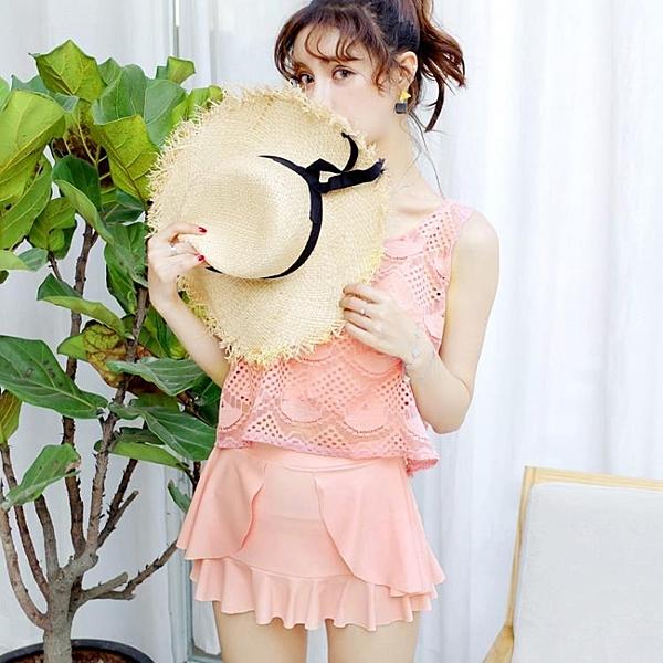 [超豐國際]游泳衣女士裙式分體小胸聚攏三件套可愛蕾絲罩衫比基1入