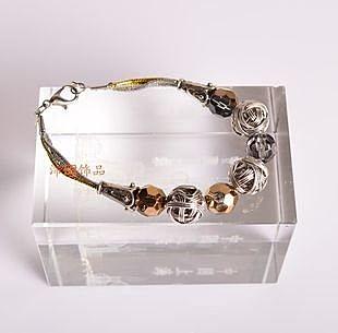 飾品新品 鏤空銅絲結 雙色珠 手工串珠