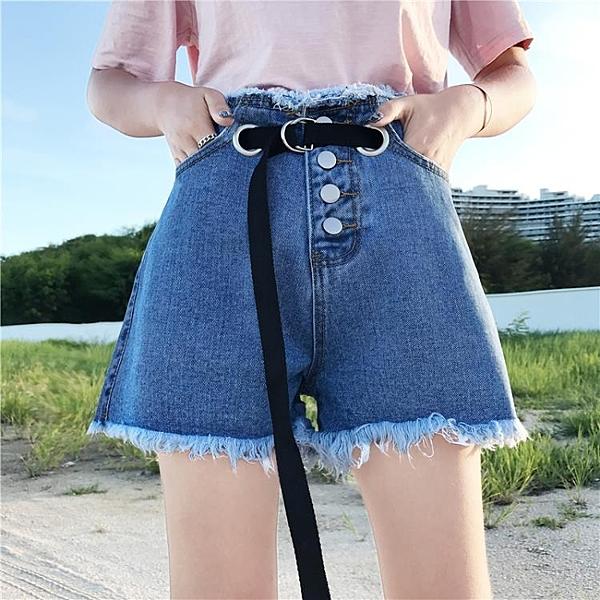 [超豐國際]牛仔短褲女高腰系腰帶寬松個性排扣闊腿牛仔熱褲女潮(1入)