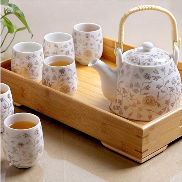 茶具套裝 送竹托陶瓷茶具套裝家用整套功夫現代簡約茶壺茶杯子6只裝