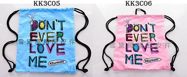 ~雪黛屋~Kellykiwi 束口後背包簡易好收納可放A4資料夾防水尼龍布材質隨身包正版限量授權品 KK3C05