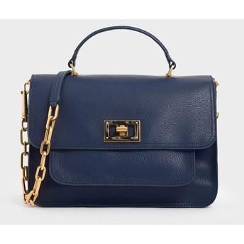 ラージレジンエフェクト バックルバッグ / Large Resin-Effect Buckle Bag (Dark Blue)