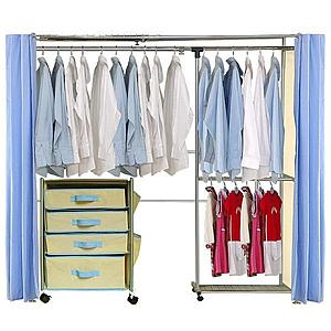 巴塞隆納─AH-15伸縮衣櫥 前布簾水藍色不織布