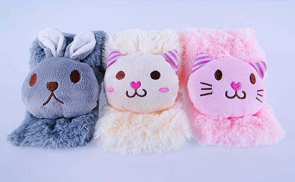 【YourShop】雪尼爾可愛動物造型圍巾+大毛球粗針毛線帽