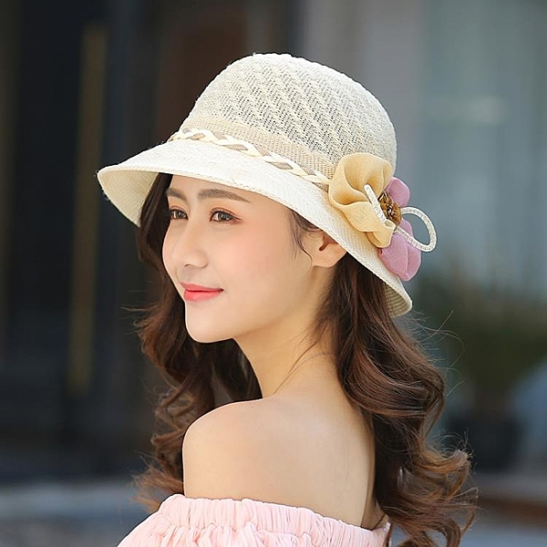 帽子女草帽花朵遮陽帽夏季可摺疊太陽帽防曬沙灘帽遮臉正韓
