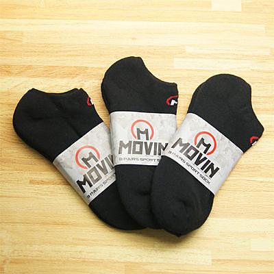 MOVIN 運動彈力厚底運動休閒踝襪-3雙組--黑色-單色  2011B