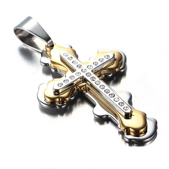 《 QBOX 》FASHION 飾品【CPAB0008】精緻個性基督教三層十字架鑲鑽鈦鋼墬子項鍊