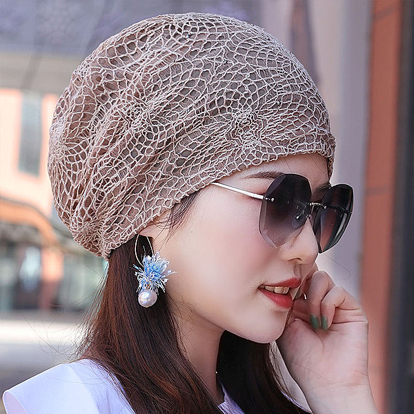 帽子女鏤空網眼夏季薄款透氣頭巾帽吸汗堆堆帽空調月子光頭包頭帽