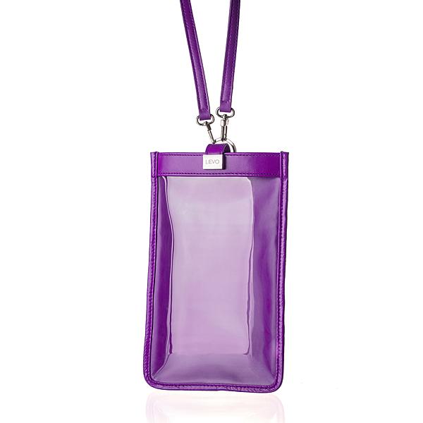 【LIEVO】 TOUCH - 真皮斜背手機護照包_深紫紅(115 * 195 mm機身尺寸以下皆適用)