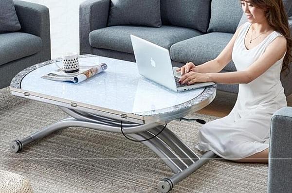 升降茶幾 現代簡約鋼化玻璃升降茶幾小戶型茶幾多功能升降茶幾餐桌兩用變圓 MKS 霓裳細軟