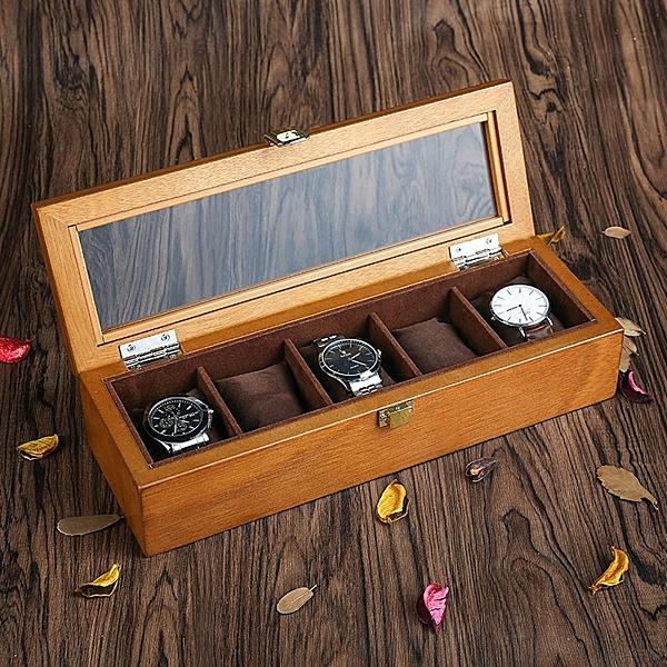 歐式複古木質天窗手表盒子五格裝手表展示盒收藏收納盒首飾盒