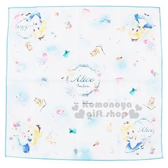 〔小禮堂〕迪士尼TSUMTSUM 愛麗絲 棉質便當包巾《藍白.站姿》43x43cm.手帕.餐巾 4991277-92545