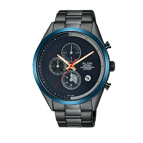 ALBA 雅柏 新上市 藍框酷炫計時男錶  VD57-X135SD (AM3597X1) 黑X藍