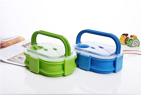 【SG275】便當盒 可手提~矽膠折疊雙層餐盒/野餐盒(附叉匙) 新款矽膠飯盒 方形可折疊單格微波