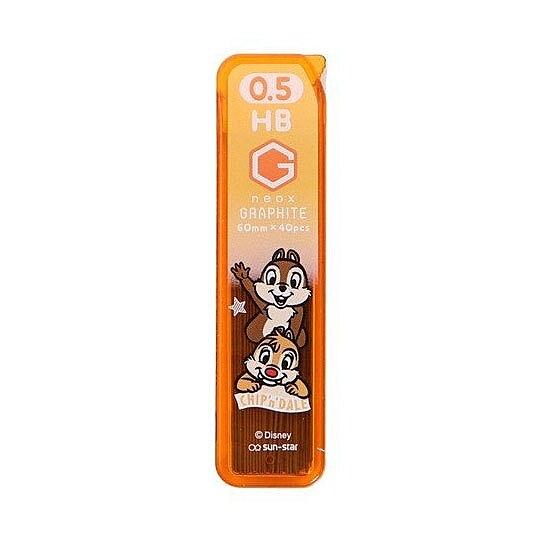〔小禮堂〕迪士尼 奇奇蒂蒂 日製盒裝自動鉛筆筆芯《橘棕.招手》0.5mm.HB筆芯.學童文具 4901770-58086