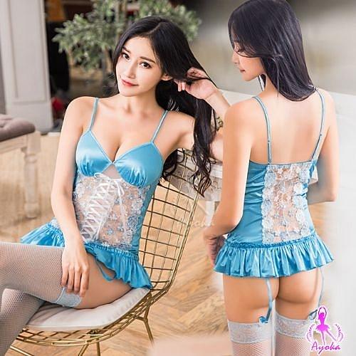 性感馬甲 藍色愛戀緹花刺繡馬甲吊襪帶四件組 愛的蔓延 NA16030035
