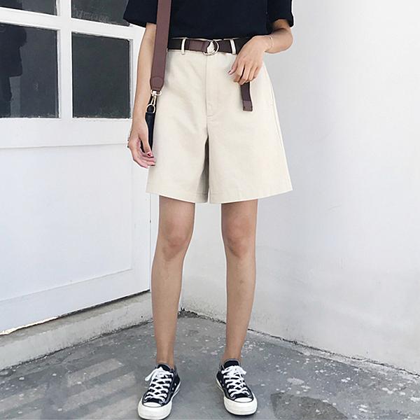 [超豐國際]夏季學院風百搭高腰顯瘦西裝休閑短褲闊腿褲女學生褲1入