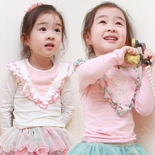 韓版《V形花邊款》氣質長袖上衣