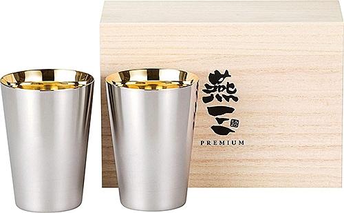 PREMIUM燕三【日本代購】和平フレイズ 24K鍍金 不銹鋼杯270ml 2件套 木盒装 典藏 送禮 EM-9406