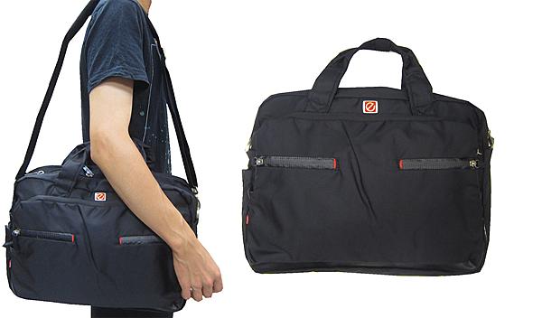 ~雪黛屋~eeBag 公事包中容量可A4資料夾主袋+外袋共四層15吋電腦高單數進口防水尼龍布HEB0221