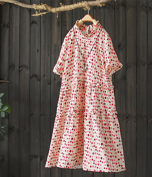 拼接寬鬆滾花邊立領印花洋裝-設計家Q2597