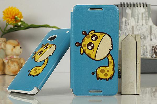 ♥ 俏魔女美人館 ♥ {萌長頸鹿*側翻掀} 亞太版 HTC NEW ONE Dual / 802D 手機殼 手機套 保護套