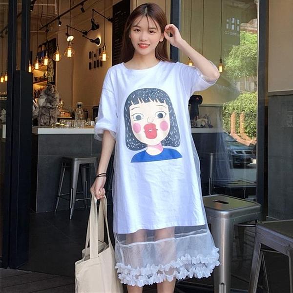 [超豐國際]夏裝中長款網紗拼接假兩件寬松卡通印花短袖連衣裙女1入