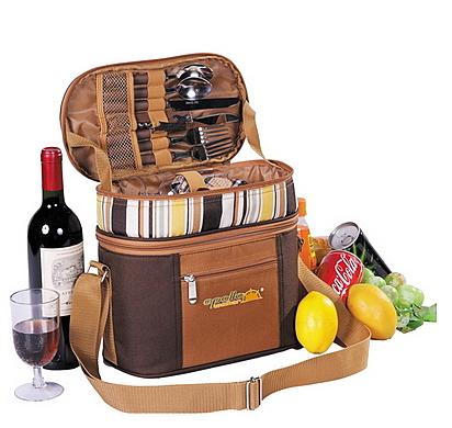 野餐包 含2人餐具組-保溫特別巧克力色外出郊遊造型肩背手提包68ag41【時尚巴黎】