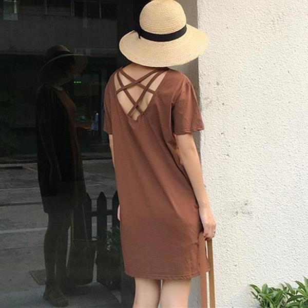 [超豐國際]港味復古chic風性感背后交叉顯瘦T恤裙女學生百1入