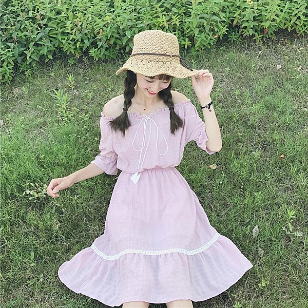 [超豐國際]夏季女裝一字肩裙子收腰顯瘦A字裙學生中長款短袖連1入