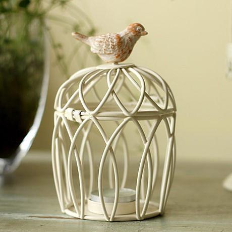 北歐白色鐵藝小鳥籠蠟燭台