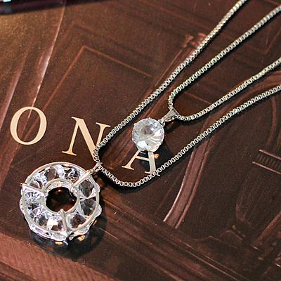 74310長款 秋冬配飾品 時尚 百搭 雙層藍鑽 項鍊