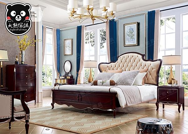 【大熊傢俱】 KFD 6601 輕奢 典雅 歐式 新古典 雙人床 妝台 床台 斗櫃 床頭櫃 皮床 雙人床房間組