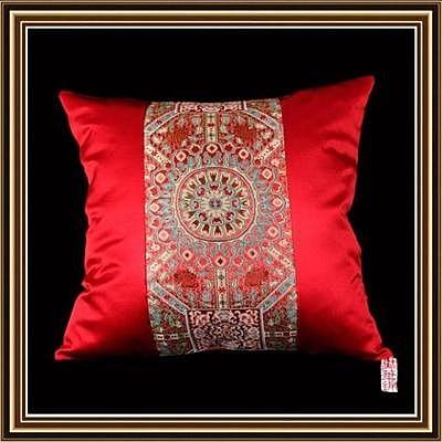 現代中式古典方枕 一盤扣菱形拼  仿三五喜龍花