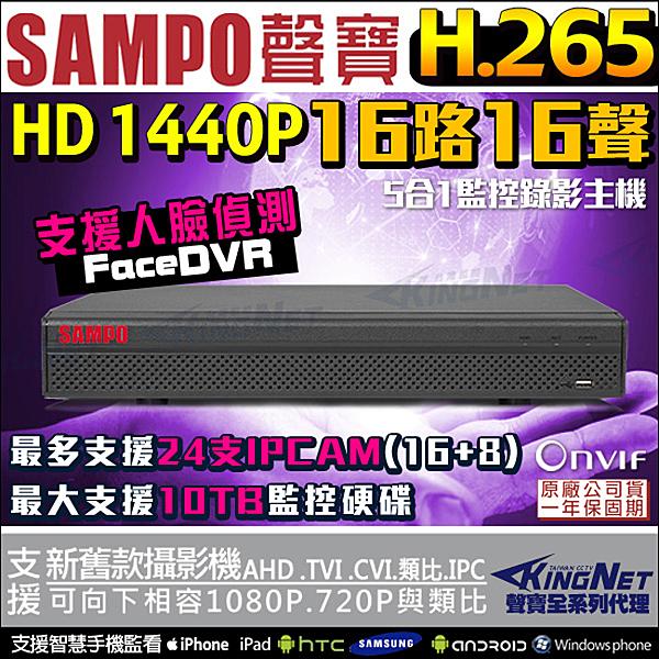 監視器 16路16聲 聲寶 SMP 監控主機 H.265 人臉偵測 1080P 手機遠端 SAMPO 台灣安防