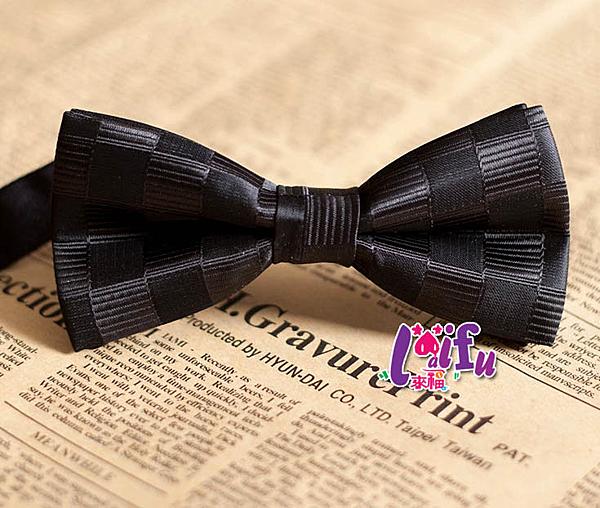 ★依芝鎂★k625領結大格紋黑底男領結糾糾新郎領結結婚領結,售價150元
