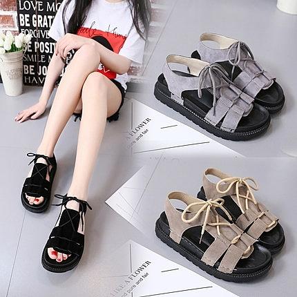 夏季平底防滑涼鞋女系帶簡約學生鞋韓版百搭松糕底女鞋原宿沙灘鞋