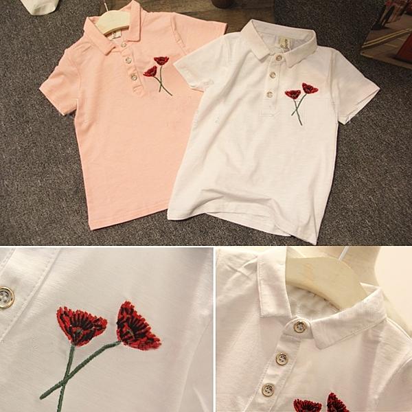 *╮小衣衫S13╭*翻領短袖康乃馨電綉上衣 1060312