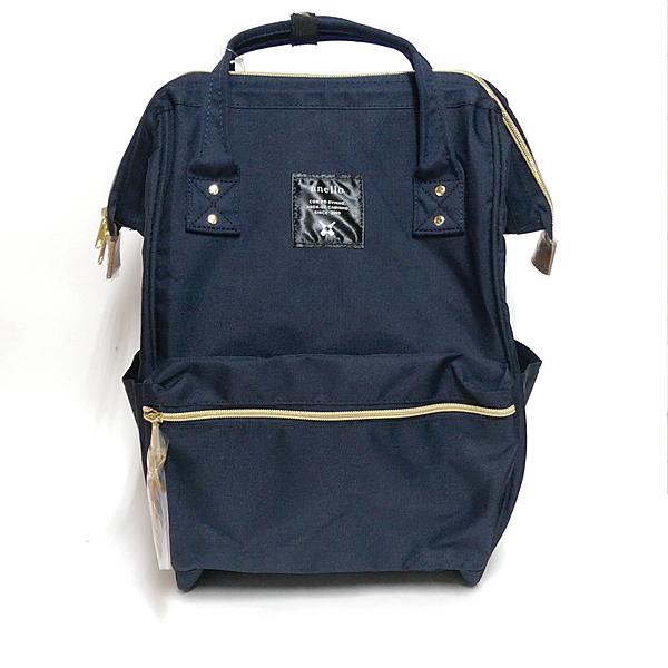 日本正版 anello 超大容量雙肩休閒後背包 媽媽包 帆布款(深藍色)-超級BABY