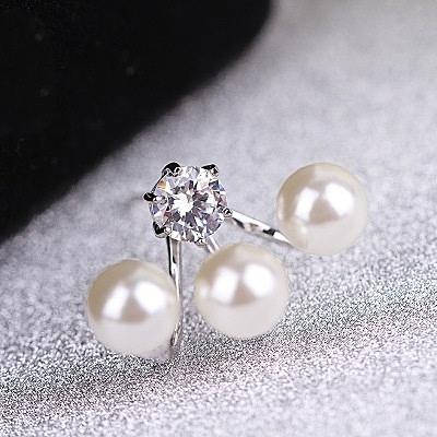 耳環 玫瑰金 925純銀鑲鑽-三顆珍珠情人節生日禮物女飾品2色73gs24【時尚巴黎】