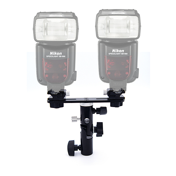 【EC數位】T型 雙閃燈支架 可拆版 雙頭熱靴 閃光燈座 帶傘孔 引閃器支架 兩支閃光燈座 雙閃燈座