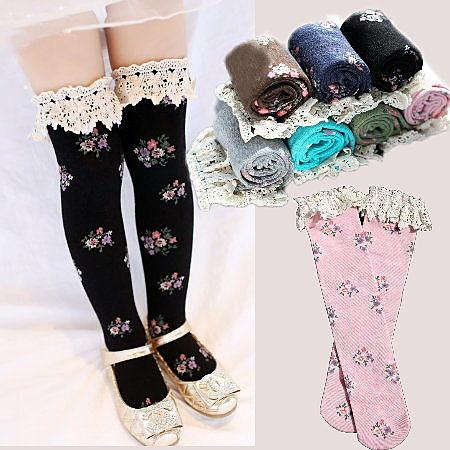 *╮小衣衫S13╭*小公主布蕾花邊花兒中筒襪1020921