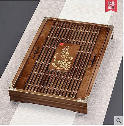茶具茶盤家用乾泡茶台茶海茶托盤簡約小儲排水式功夫茶盤實木
