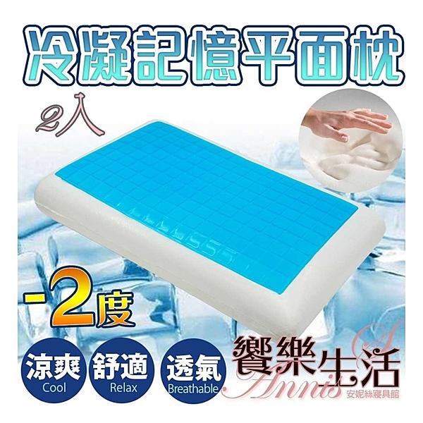 超值2入【安妮絲Annis】沁涼凝膠記憶枕-標準平面枕(2入)涼感枕頭/釋壓記憶枕/冷凝枕