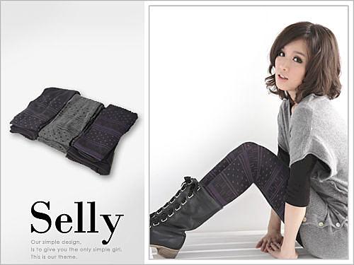 Selly *沙粒* 日單‧北歐風格點點花漾厚款褲襪 * 3色 * 現貨
